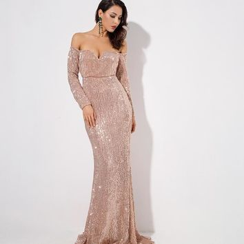 Jenna- Gold Drop Shoulder V Neck Long Sleeve Sequin Long Dress