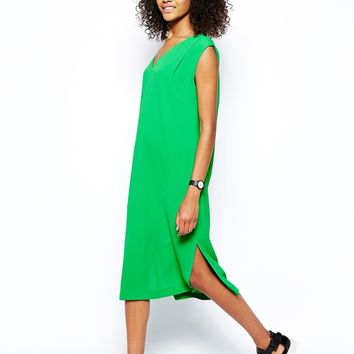Monki V-Neck Midi Dress