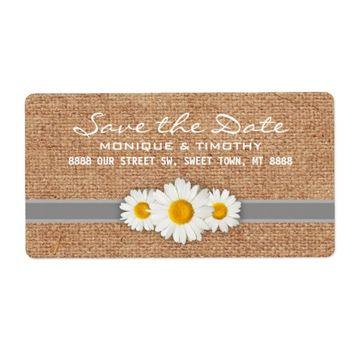 Daisy Ribbon - Burlap Gray & White Save the Date Shipping Label
