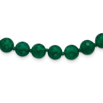 925 Sterling Silver 8-8.5mm Faceted Emerald Green Agate Necklace 18 Inch