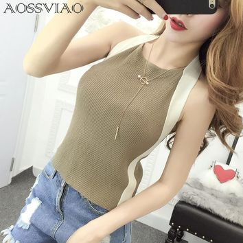Crop Top Women 2018 Summer Tops Off Shoulder Tank Top Femme Knitted Cotton Halter Cropped Debardeur Blouses Vest Woman Clothes