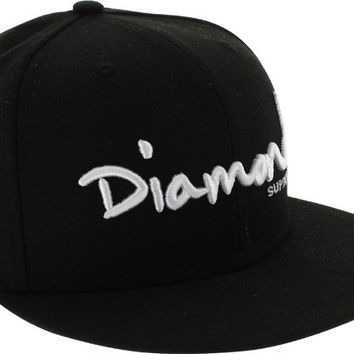 Diamond OG Script Hat 7-5/8 Black/ White Newera