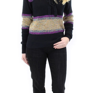 BCBGeneration   striped lace-up sweater