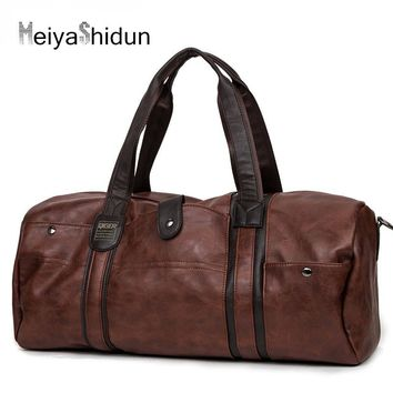 MeiyaShidun New Arrival Leather Handbags Men Large Capacity Travel Bag Weekend Duffle Bag Vintage Portable Shoulder Bags Package