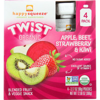 Happy Squeeze Fruit And Veggie Snack - Organic - Blended - Twist - Apple Beet Strawberry And Kiwi - 4-3.17 Oz - Case Of 4