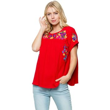 Fiesta Embroidery Top in Red
