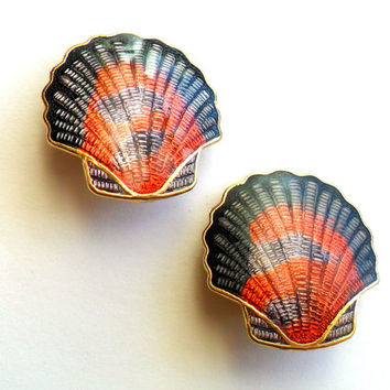 Vintage Seashell Cloisonne Earrings Clip On Mermaid Style Purple Pink Marbled Gold Tone Fantasy 1980s 80s Neon Colors