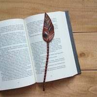 Feather bookmark / Gifts for book lovers / Boho leather bookmark / Bohemian / Hippie / Tribal / Fantasy / Bookworm / Gifts for her