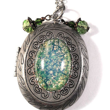 1950's Japanese Green Opal Glass on Antiqued Silver Locket with Green Crystal Charm Accents Necklace