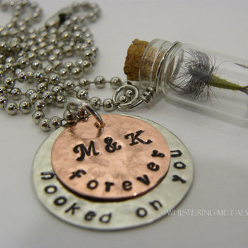 Fishing Fly Glass Jar Necklace Hand Stamped Metal - forever hooked on you with personalized initials