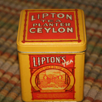 Vintage Lipton Tea Planter Ceylon Tin