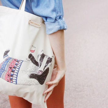 Tipsy Badger Printed Tote Bag by SophieParker on Etsy