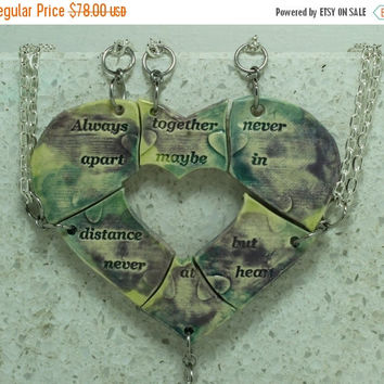 Fall Sale Puzzle Heart Necklaces set of 5 pendants Aromatherapy friendship pendants Always together purple green yellow