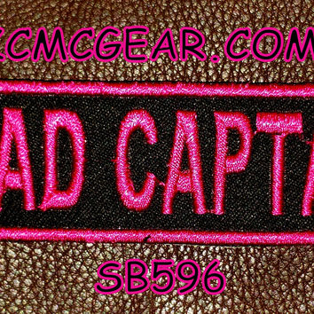 ROAD CAPTAIN Pink on Black Small Badge Patch for Vest jacket SB596