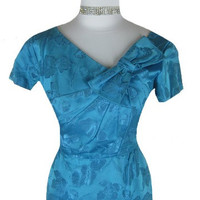 1950s 1960s DUBARRY Teal Brocade Vintage Cocktail Dress W30