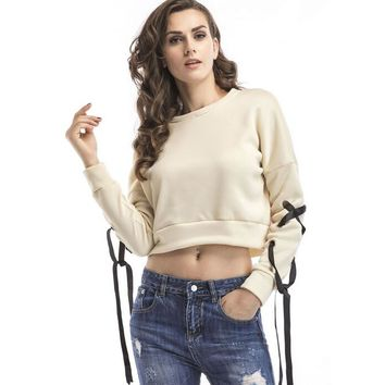 Womens Midriff-baring Sweater Top +Gift Necklace