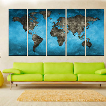blue world map wall art print, world Map Canvas Print, extra large wall art canvas print,  No:hr3
