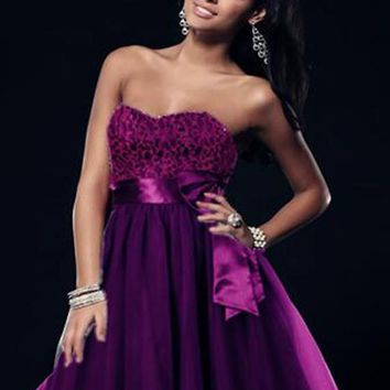 Purple Patchwork Bandeau Bowknot Sashes Fluffy Puffy Tulle Bridemaid Prom Mini Dress