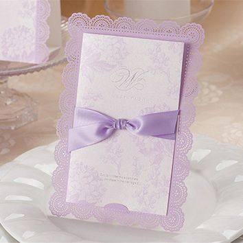 1pcs Sample Purple Laser Cut Hollow Wedding Invitation Card