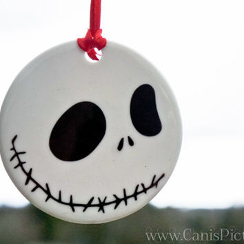 Nightmare Before Christmas Skellington Ornament Jack Tree Decoration Home Decor Porcelain Gift Unique Fandom Skull White Black Halloween Art