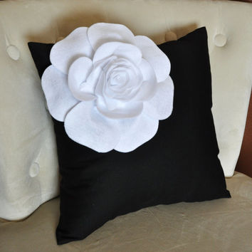 Decorative White Corner Rose on Black Pillow 14 X 14 Black and White Flower Pillow - Decorative Pillow  - Throw Pillow