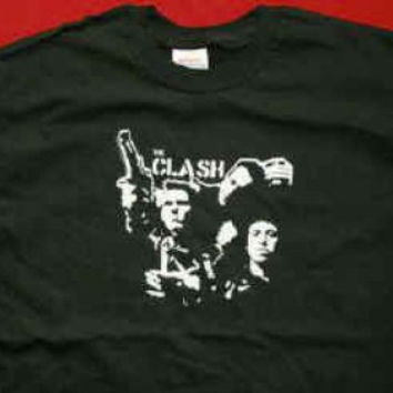 The Clash T-Shirt Group And Gun Black Size Medium