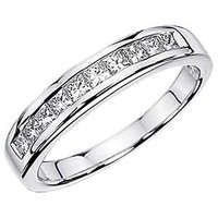 0.50 Carat (ctw) 14K White Gold Princess White Diamond Anniversary Wedding Stackable Ring Band 1/2 CT