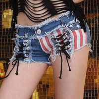 2015 New Women's Fashion Shorts Casual USA Flag Sexy Retro Vintage Short Pants S/M/L = 1913378436