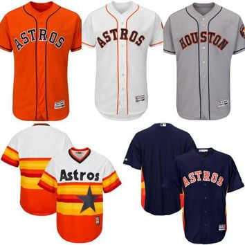 White blue orange Throwback blank baseball Jersey , Men's Mitchell And Ness MLB Houston Astros