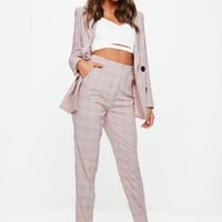 Missguided - Pink Plaid Slim Leg Pants