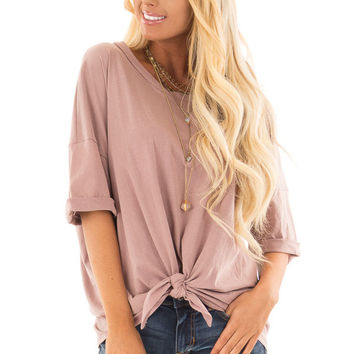 Dusty Rose Comfy Tee Shirt with Front Tie