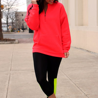Keep It Cozy Sweatshirt - Hot Coral