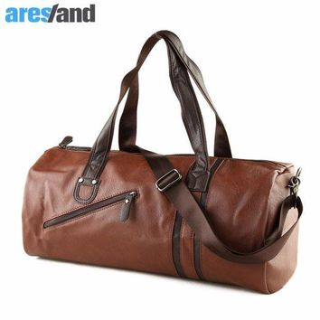 VONL8T Large Capacity Outdoor Men's Sports Bag PU Leather Tote Duffel Bag Multifunction Portable Travel Sports Gym Fitness Bag