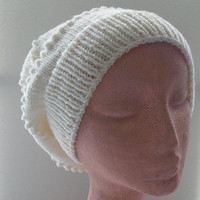 White Slouchy Hat Adult Size Hat Wool Knit Hat Ready to Ship