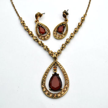 Vintage Avon Genuine Topaz and Gold Teardrop Necklace and Earrings Set