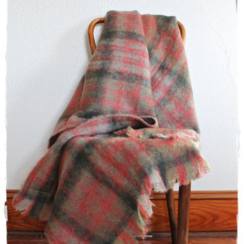 "Cozy Vtg 60's Mohair ""GLENTANA"" Made In Scotland Plaid Wool Throw*Blanket"