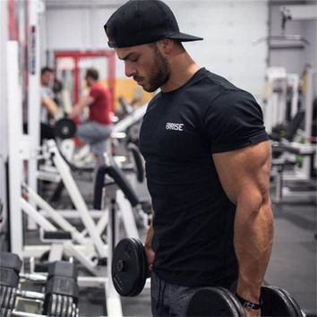 Men brand t shirt Summer Fitness Bodybuilding shirts Crossfit Fashion Leisure cotton Short sleeve Solid color Tee Top clothing