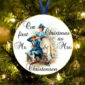 Our first Christmas. Tree Ornament. Name Personalized Gift. Custom Wedding Decoration. Personalized gift. Our First Christmas Together. Name