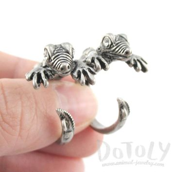 3D Iguana Lizard Shaped Front and Back Two Part Stud Earrings in Silver