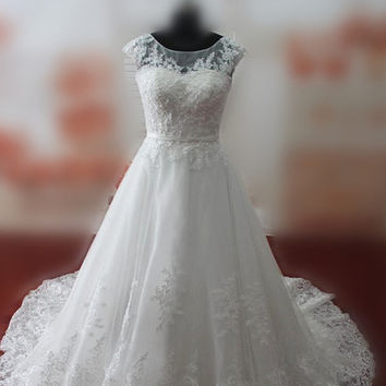 Real Samples Sheer Jewel Neckline Wedding Dresses with Pearls Lace-up Chapel Train Lace Bridal Gowns Custom Made Wedding Gowns