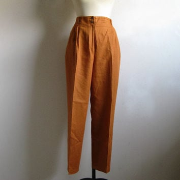 Linen 1980s RODIER Pants Vintage 80s Cinnamon Linen-Cotton Resort Trouser 42