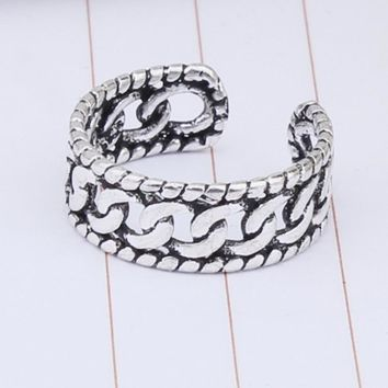 New Arrival Shiny Jewelry Stylish Gift 925 Silver Korean Simple Design Twisted Ring [7652920967]