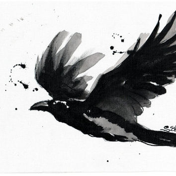 Ink drawing A4 - Raven 3