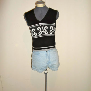 90s Black & White Butterfly Knit Crop Top Tank Top V Neck, Clueless, New Wave, Club Kid Shirt