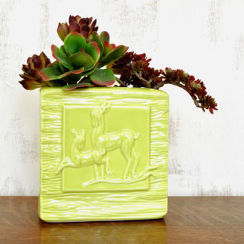 Vintage Aborn Pottery Deer Planter, Square Vase, California Pottery, Yellow Ceramic Planter, Faux Bois,