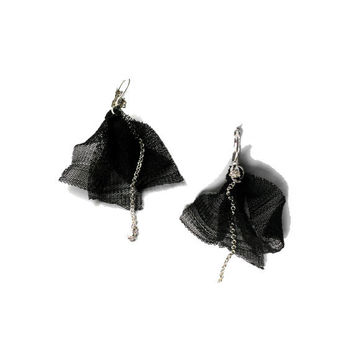 Fabric earrings  Black fabric dangle  with strass and chain for her - one of a kind - OOAK