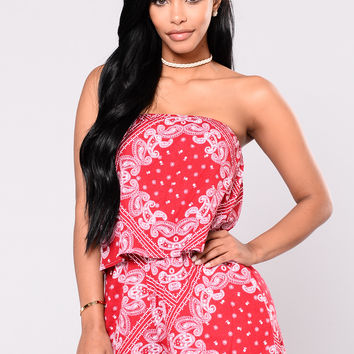 Bandana Tied Romper - Red