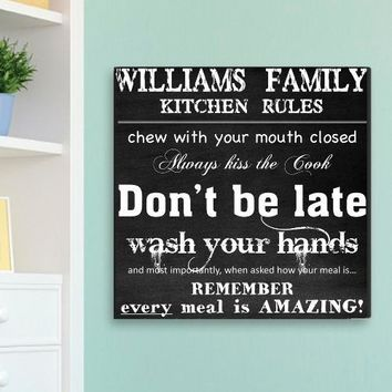 Family Kitchen Rules Canvas Print