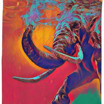 ROSC Elephant In Water Shower Curtain