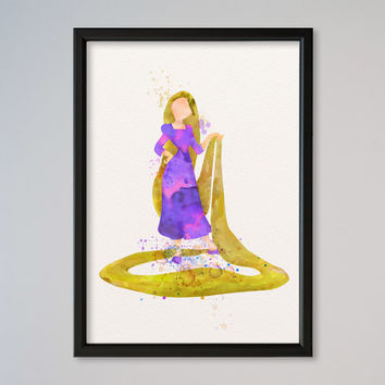 Rapunzel Princess Watercolor print Disney Rapunzel Watercolor Illustration poster Kids art Wall art Nursery Giclee Print Fine Art